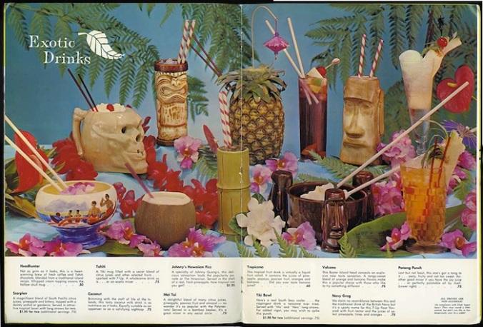 Carte de cocktails polynésiens et ses mugs. Début des années 1960